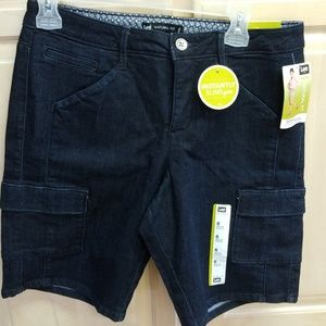 Dark denim cargo shorts